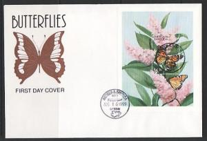 Antigua, Scott cat. 2293. Monarch Butterfly s/sheet on a Large First day cover.
