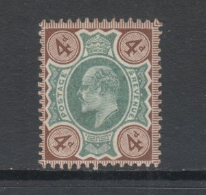Great Britain Sc 133 MLH. 1902-1911 4p gray brown & green KEVII, De La Rue Print