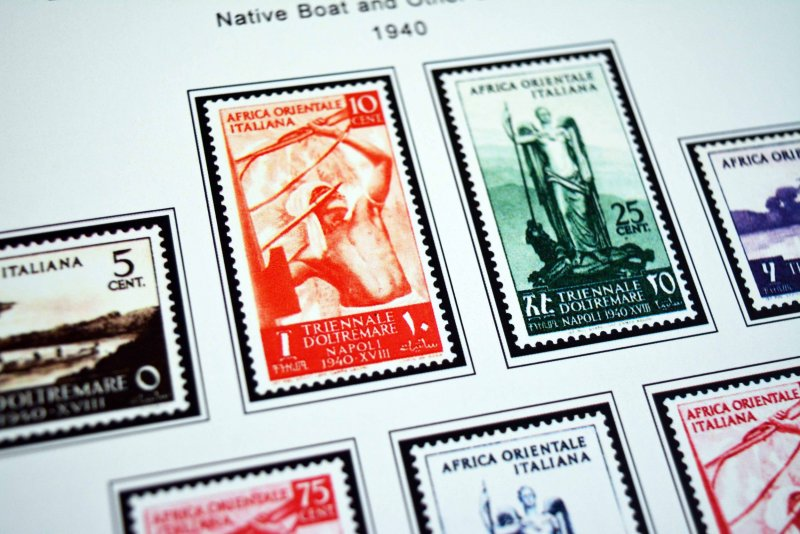 COLOR PRINTED ITALIAN EAST AFRICA 1938-1942 STAMP ALBUM PAGES (7 illustr. pages)