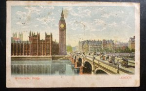 1903 Paddington England Picture Postcard Cover To France Postage Due Westminster
