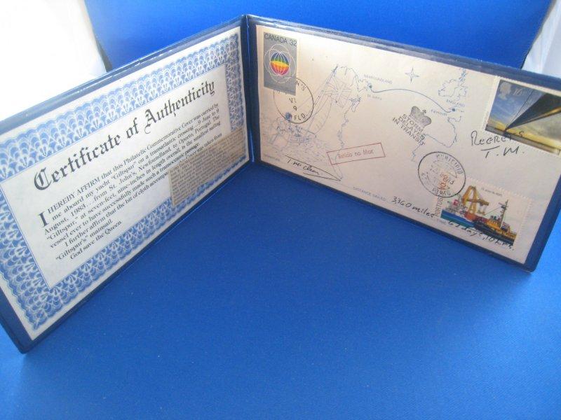 TOM MCCLEAN ATLANTIC SAILING COMMEMORATIVE COVER  1983