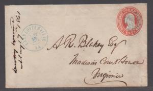 **CSA Cover, Charlottesville, VA, 5/18/1861, Conf Usage of US Postage