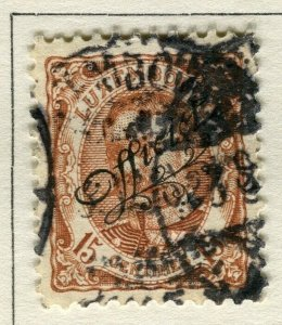 LUXEMBOURG; 1908 early Duke William OFFICIAL Optd issue fine used 15c.