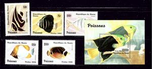 Benin 942-47 MNH 1996 Fish set with souvenir sheet