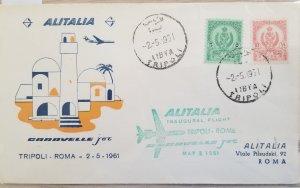 O) 1961 LIBYA, INAUGURAL FLIGHT TRIPOLI - ROME, ALITALIA - CARAVELLE, TRIPOLITAN
