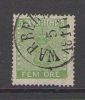 Sweden Sc 6 1858 5 ore green Coat of Arms stamp used