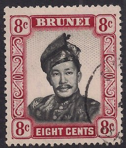 Brunei 1952 - 58 QE2 8ct Sultan Omar used SG 105 ( F639 )