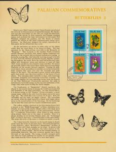 Palau 186a on Souvenir Page, Butterflies, Flowers