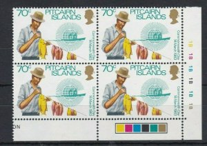 PN152) Pitcairn Islands 1983 Commonwealth Day 70c MUH block of 4