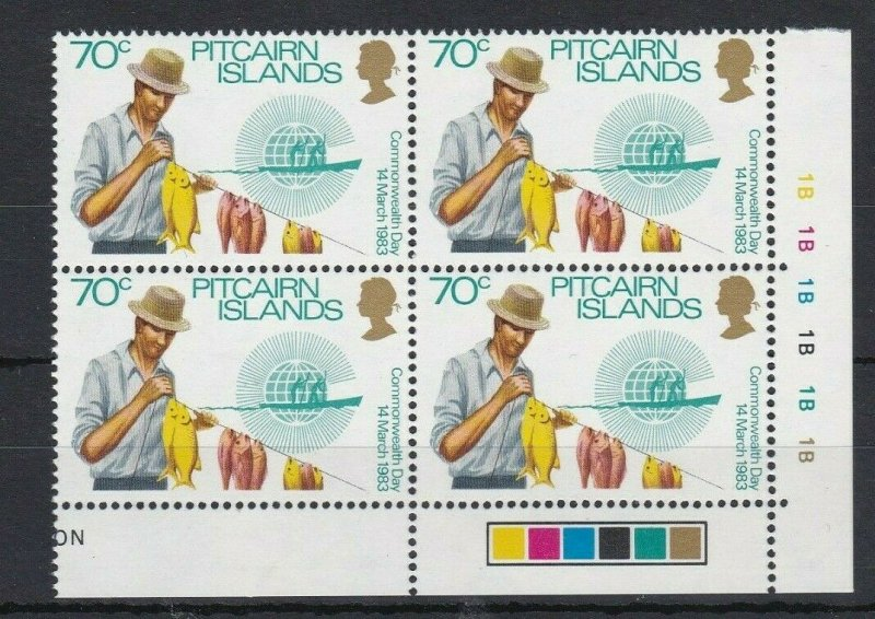 PN152) Pitcairn Islands 1983 Commonwealth Day 70c MUH block of 4