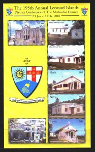 Nevis. 2001. Small sheet 1661-67. Methodist churches, architecture. MNH.