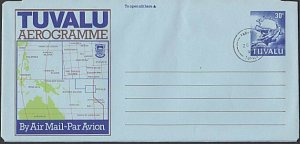 TUVALU 30c Map / UPU monument aerogramme cto 1998 Funafuti cds..............L459