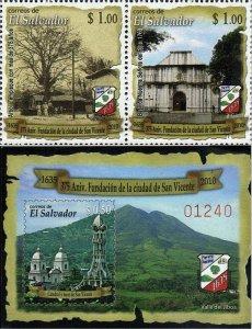 EL SALVADOR CITY of SAN VICENTE Sc 1704-1705 HORIZ PAIR+SS MNH 2010