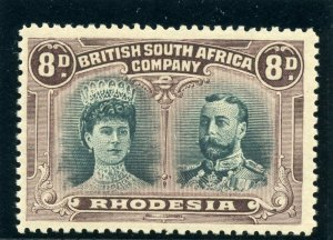 Rhodesia 1910 KGV Double Head 8d greenish black & purple MLH. SG 148.