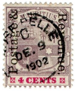 (I.B) Mauritius Postal : 4c Purple & Carmine (SG 157) on white paper