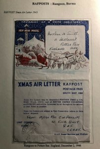 1945 Rangoon Burma RAFPOST Xmas Air Letter Cover To Potters Bar England