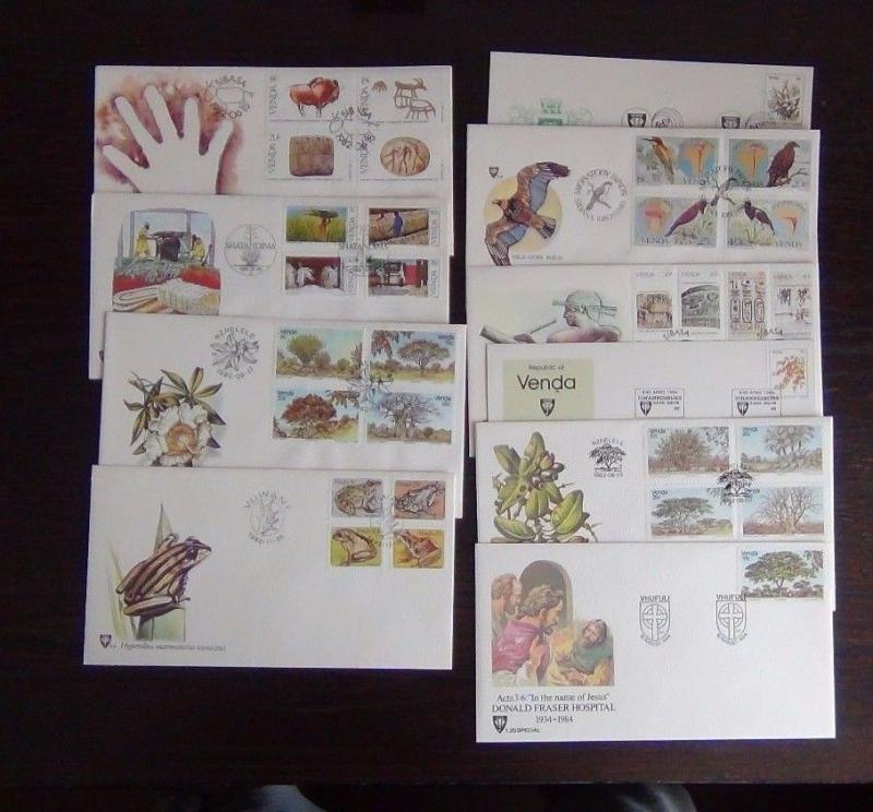 Venda 1982 1983 FDC x 10 Writing Trees Frogs Birds Cultivation etc