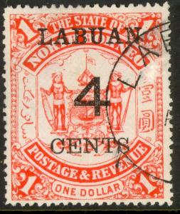 LABUAN 1895 4c on $1.00 Surcharged ARMS Issue Sc 58 VFU