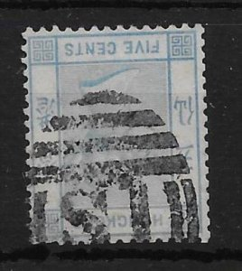 HONG KONG SG29w (Z793) 1880 5c BLUE INV WMK USED IN SHANGHAI