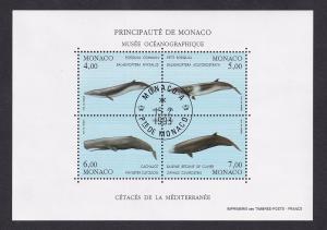 Monaco  #1852  cancelled 1993  sheet  marine mammals   wales