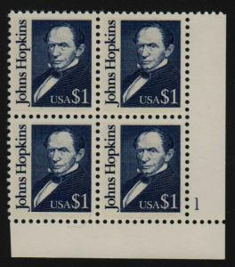 1989 Sc 2194 $1 Johns Hopkins MNH plate block  CV $10