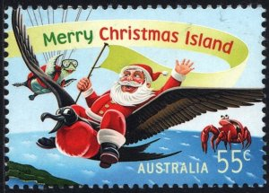 Christmas Island: SC#520 55¢ Santa Riding on Frigatebird (2013) Used