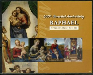 GRENADA 2020  500th MEMORIAL ANNIVERSARY OF RAPHAEL IMPERFORATE  SHEET MINT NH