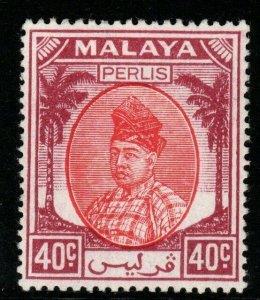 MALAYA PERLIS SG23 1951 40c RED & PURPLE MTD MINT