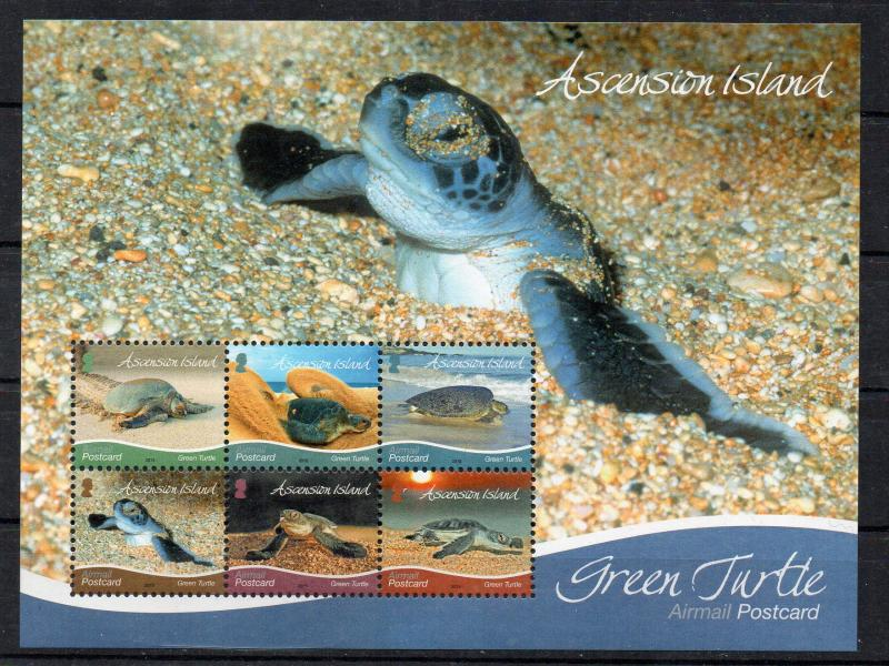 ASCENSION ISLAND - MINIATURE SHEET - GREEN TURTLES - 2015 -