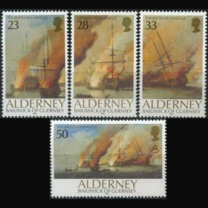 GUERNSEY-ALDERNEY 1992 - Scott# 65-8 Battle Set of 4 NH