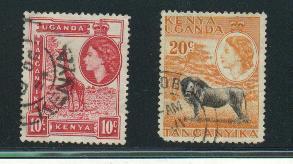 Kenya Uganda Tangyanika Sct # 104 and 107; used