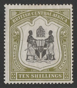 BRITISH CENTRAL AFRICA : 1897 Arms 10/- black & olive-green.