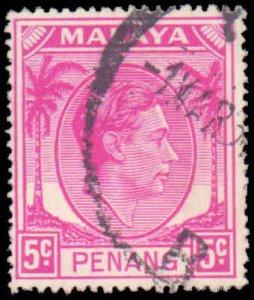 Malaya Penang #18, Incomplete Set, 1952, Used