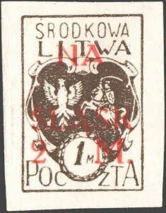 CENTRAL LITHUANIA / MITTELLITAUEN - 1921 Mi.27B 2M/1M Mint* - ref.916a
