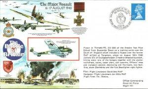 The Major Assault 16-17 Aug 1940 RAFA7 Flown Cover BFPS2228 1990 Postmark Z10171