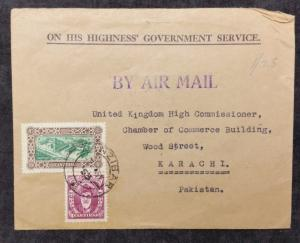 Zanzibar 1953 Official Airmail Cover to Karachi Pakistan; 1.25 rate; 2 stamps