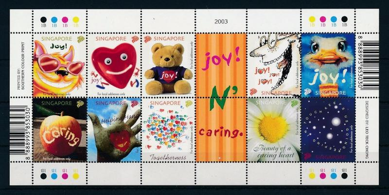 [27815] Singapore 2003 Animals Greeting stamps Cat Bear Ostrich MNH Sheet