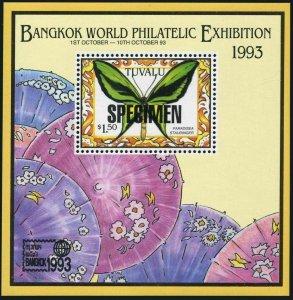Tuvalu 648 SPECIMEN,MNH.Michel 669 Bl.47. Butterfly Paradisea staudinger,1993.