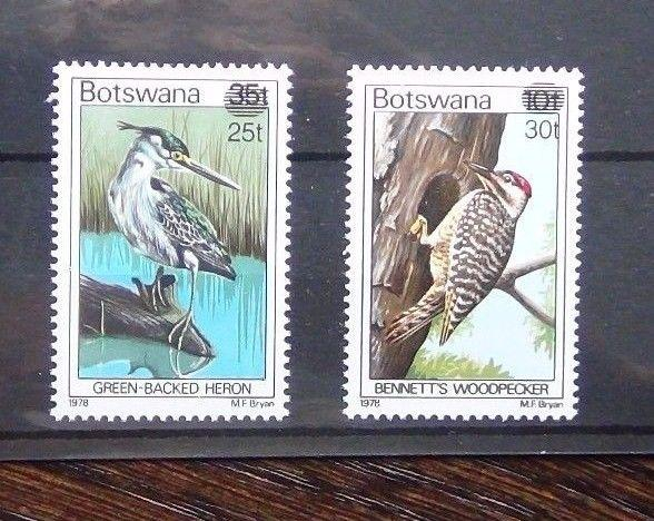 Botswana Overprints 1981 Birds 25t on 35t & 30t on 10t MNH