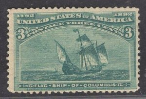 US Stamp #232 3c Green Flagship of Columbus MINT NH  SCV $97.50