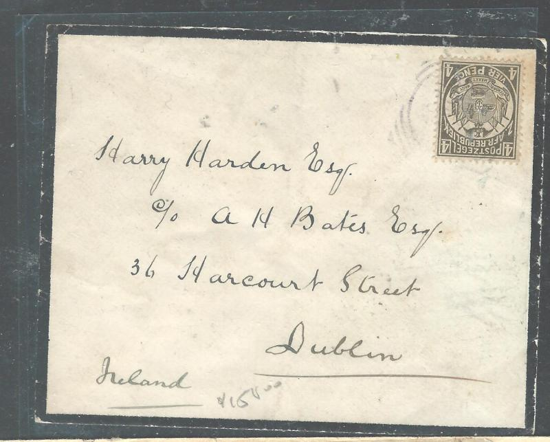 TRANSVAAL  (P2308B) 4D ON 1892 MOURNING COVER TO IRELAND