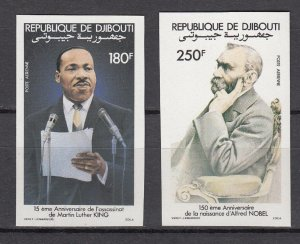 DJIBOUTI SC# C180-C181 ALFRED NOBEL AND MARTIN LUTHER KING - MNH -  IMPERF