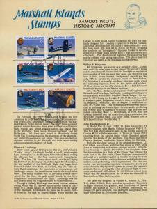 Marshall Islands 137a,9a,41a Souvenir Page, Famous Pilots, Historic Aircraft