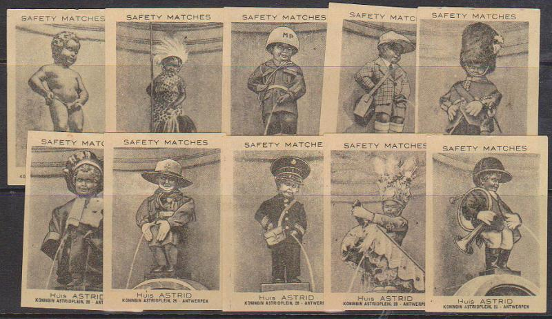 Matchbook Cards - Set of 10 Belgian Cards with Manneken Pis