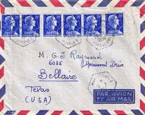 French Guiana France 20F Marianne (6) 1959 Maripasoula, Guyane Fse. Airmail t...