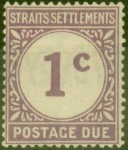 Straits Settlements 1924 1c Violet SGD1 Fine Lightly Mtd Mint