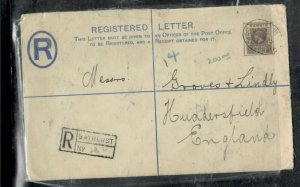 GAMBIA COVER (PP0301B) 1922 KGV 2D RLE+3D LARGER SIZE BATHURST TO ENGLAND