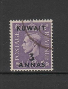 KUWAIT #77  1948  3a on 3p   KING GEORGE VI SURCHARGED   F-VF  USED   b