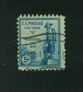 US 1933 5c blue Kosciuszko, Scott 734 used, Value = 25c