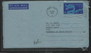 HONG KONG (P2504B)  1978 QEII  60C AEROGRAMME TO SOUTH AFRICA